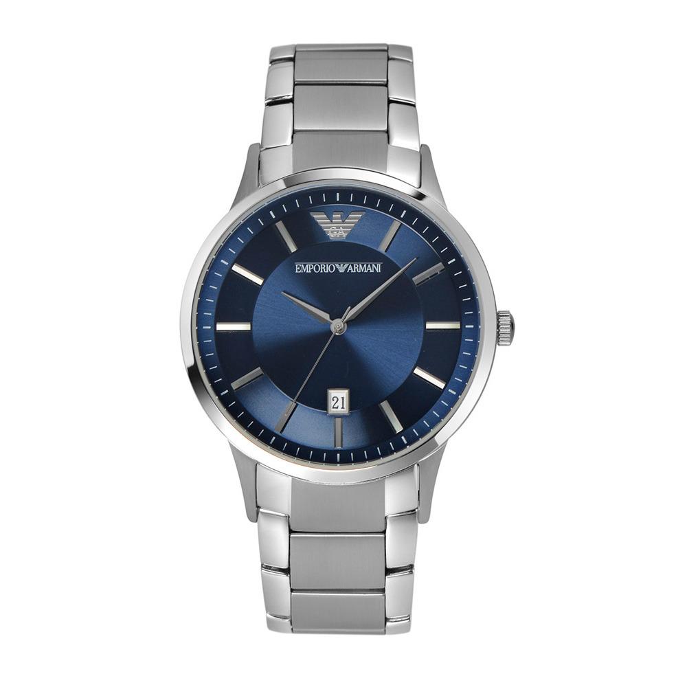Emporio Armani Horloge Renato Classic staal zilverkleurig-blauw AR2477