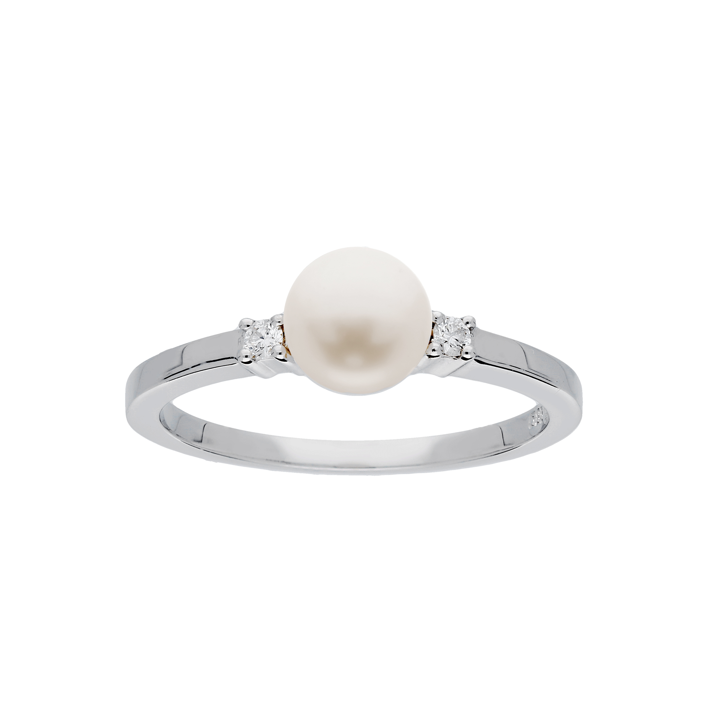 Glow Witgouden Ring Glanzend Parel Diamant 2 0.04ct G si 214.3025.58