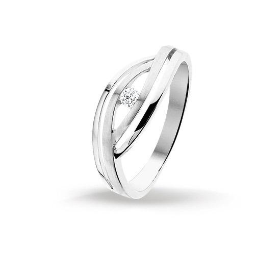 Huiscollectie 4102559 Witgouden ring met 0.05 crt Maat 55 is 17.5mm