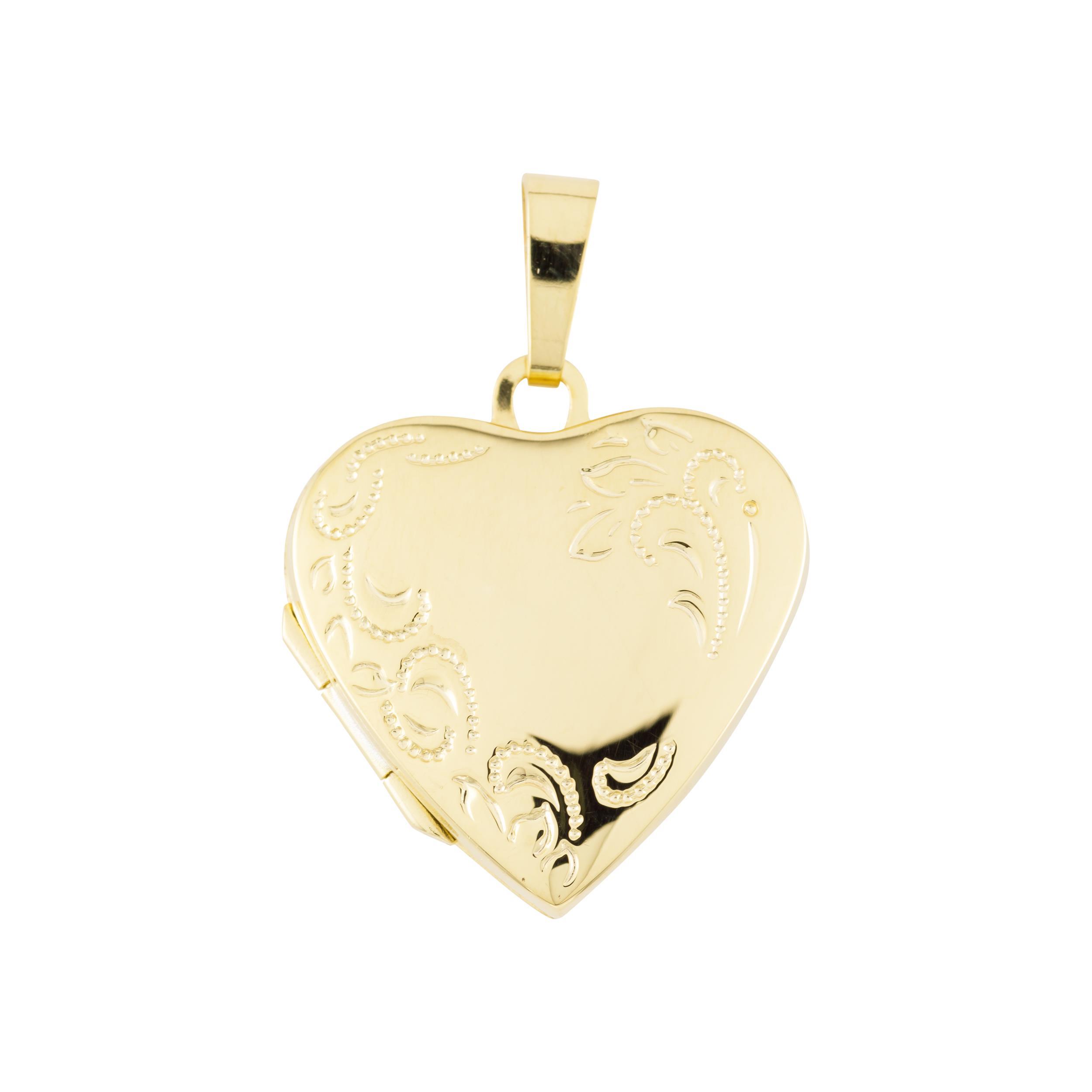 Glow Gouden medaillon Hart Bloemmotief 20 x 29 mm 245.0094.00