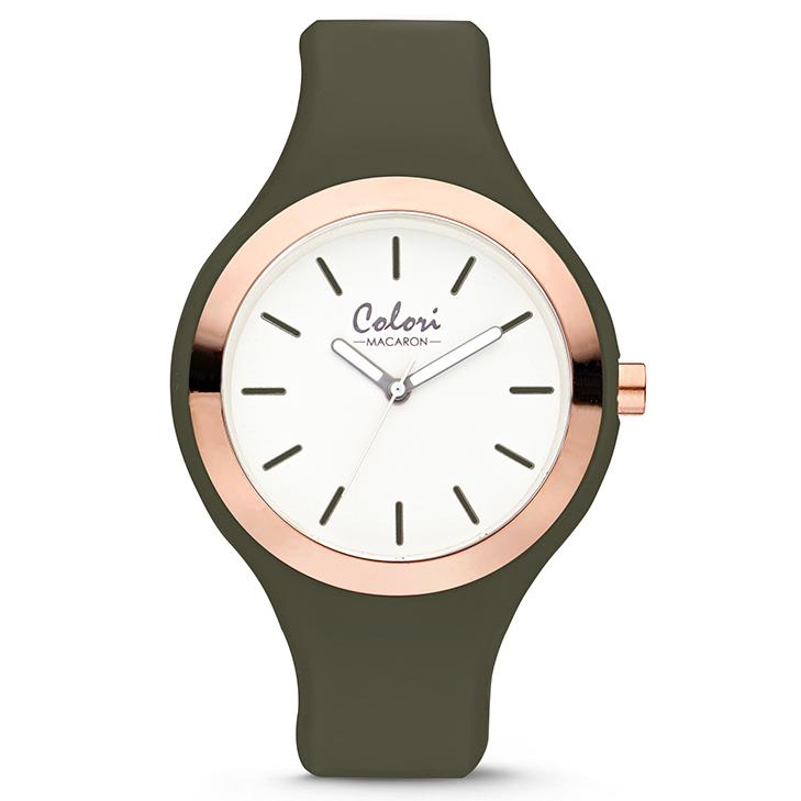Image of Colori 5-COL502 Horloge Macaron staal/siliconen rosé-olijfgroen 44 mm 5-COL502 12199