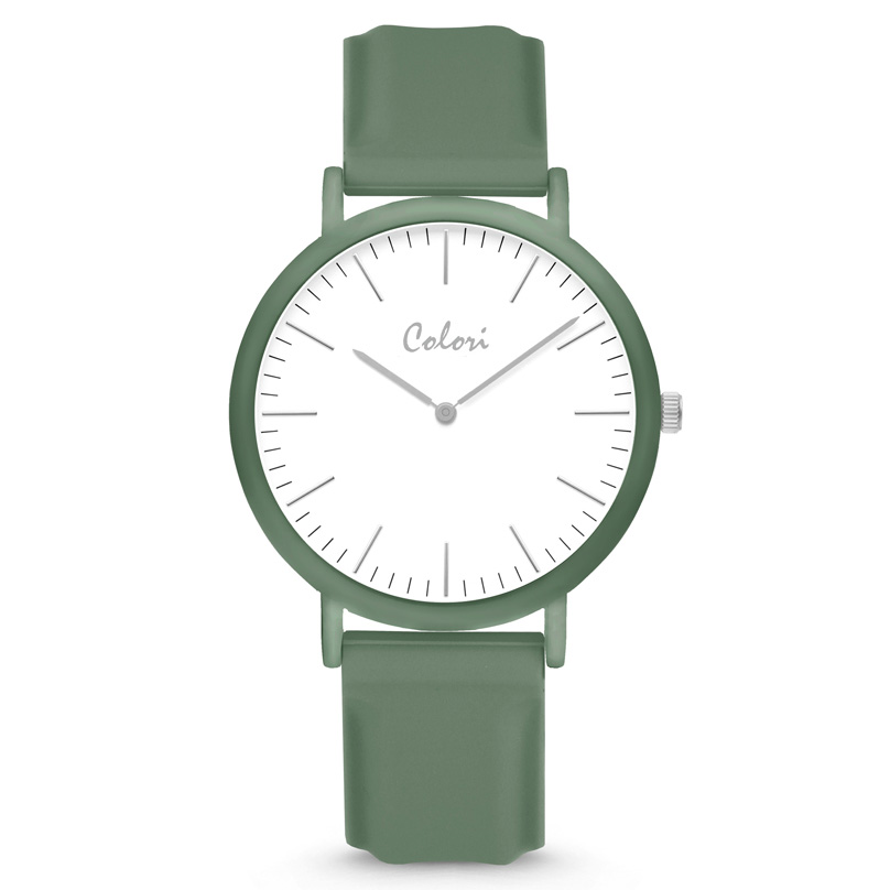 Colori Essentials 5 COL588 Horloge - Siliconen Band - Ø 40 mm - Groen