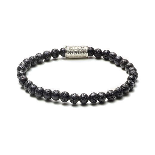 Rebel and Rose RR 40015 S Rekarmband Beads Black Moon zilverkleurig zwart 4 mm S 16,5 cm