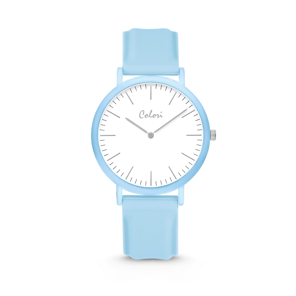 Colori Essentials 5 COL581 Horloge - Siliconen Band - Ø 40 mm - Blauw