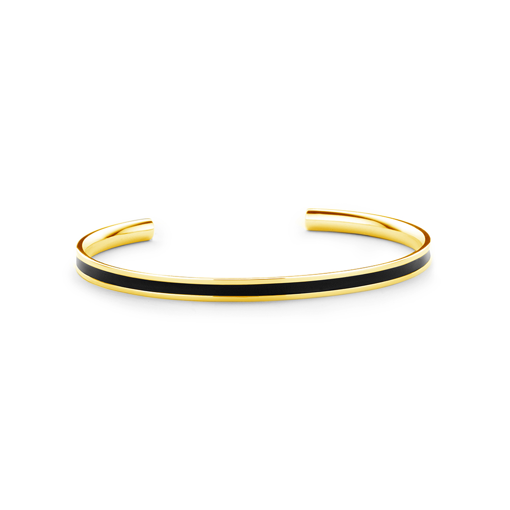 CO88 Collection Majestic 8CB 90196 Stalen Open Bangle met Emaille - One-size (62x50x2 mm) - Goudkleu