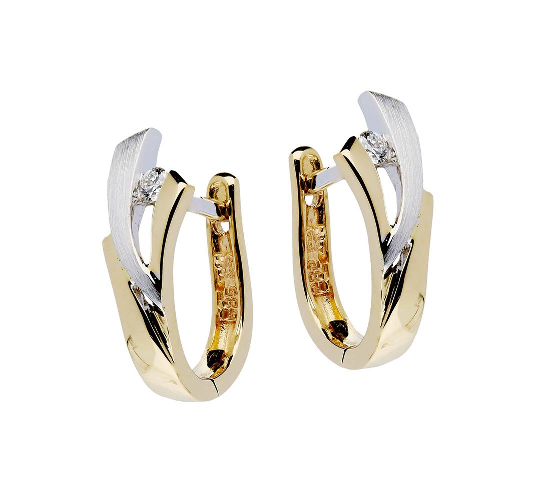Glow Gouden Klapcreolen, Diamant 0.053ct. Mat/glanzend 207.5251.00