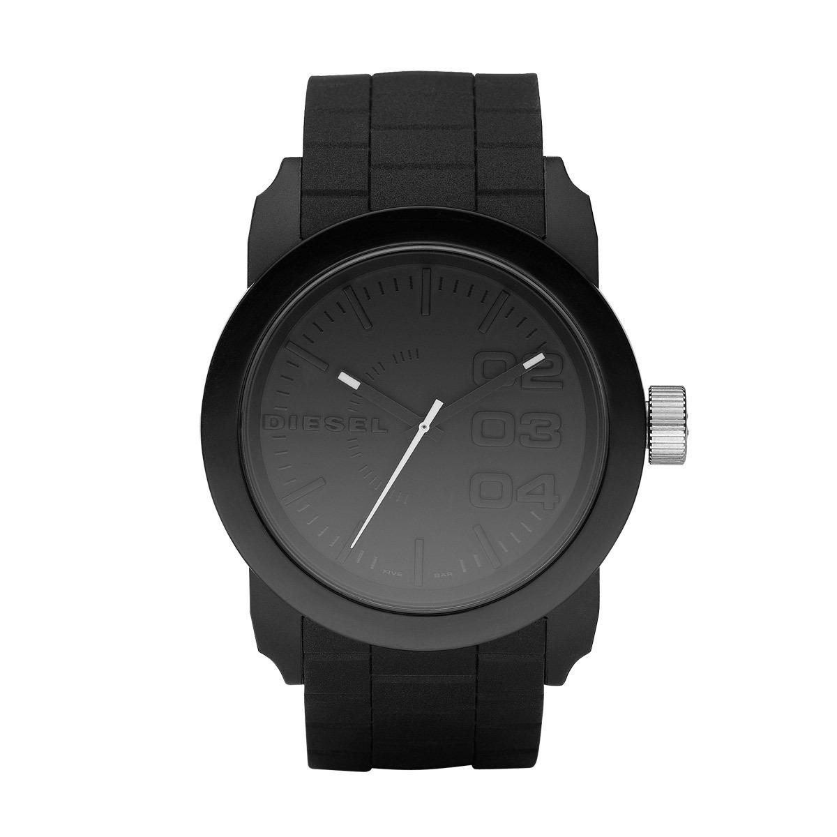 Diesel Horloge Double Down staal/siliconen zwart DZ1437