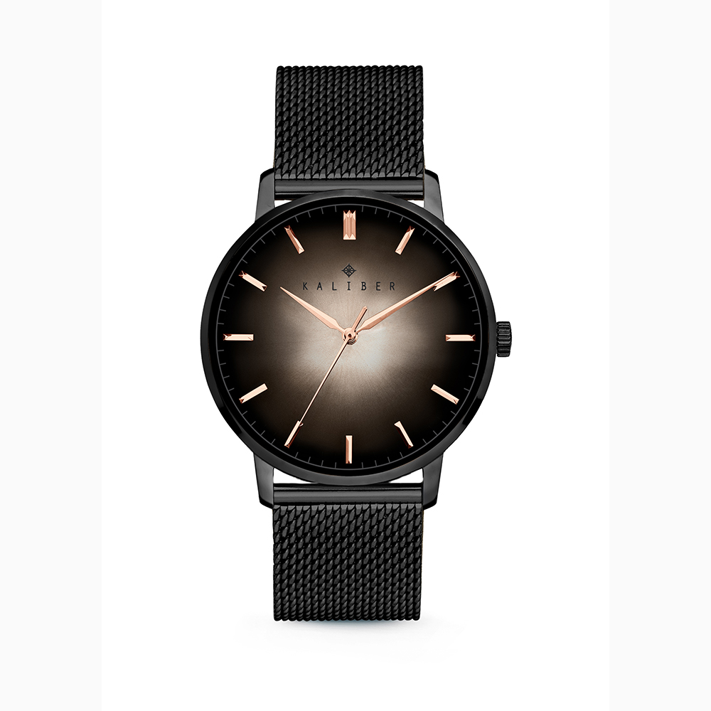 Kaliber 7KW 0009 Horloge met Meshband Ø40 mm zwart-rosekleurig