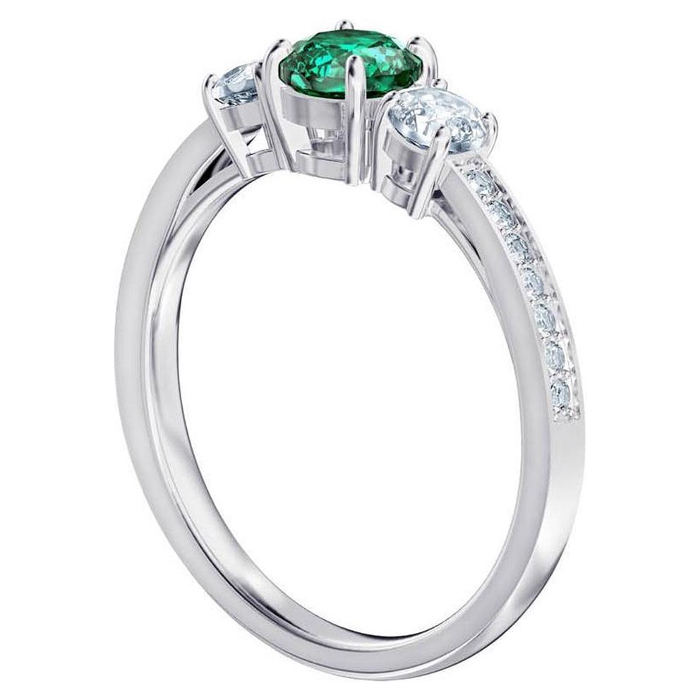 Swarovski 5416151 Ring Attract Trilogy zilverkleurig-groen Maat 55