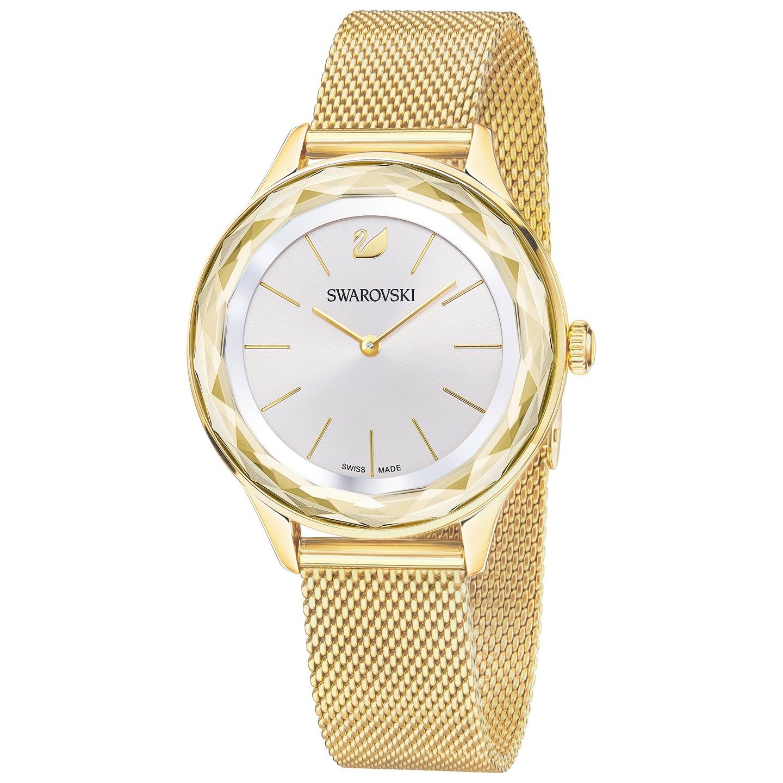 Swarovski Octea Nova Watch, Milanese bracelet, Gold tone Brown Gold-plated