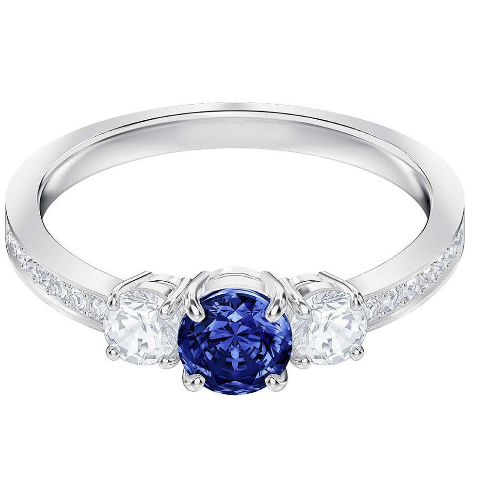 Swarovski 5416152 Ring Attract Trilogy zilverkleurig-blauw Maat 55 (retired)
