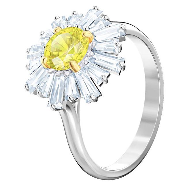 Swarovski 5482709 Ring Sunshine zilverkleurig-geel Maat 52