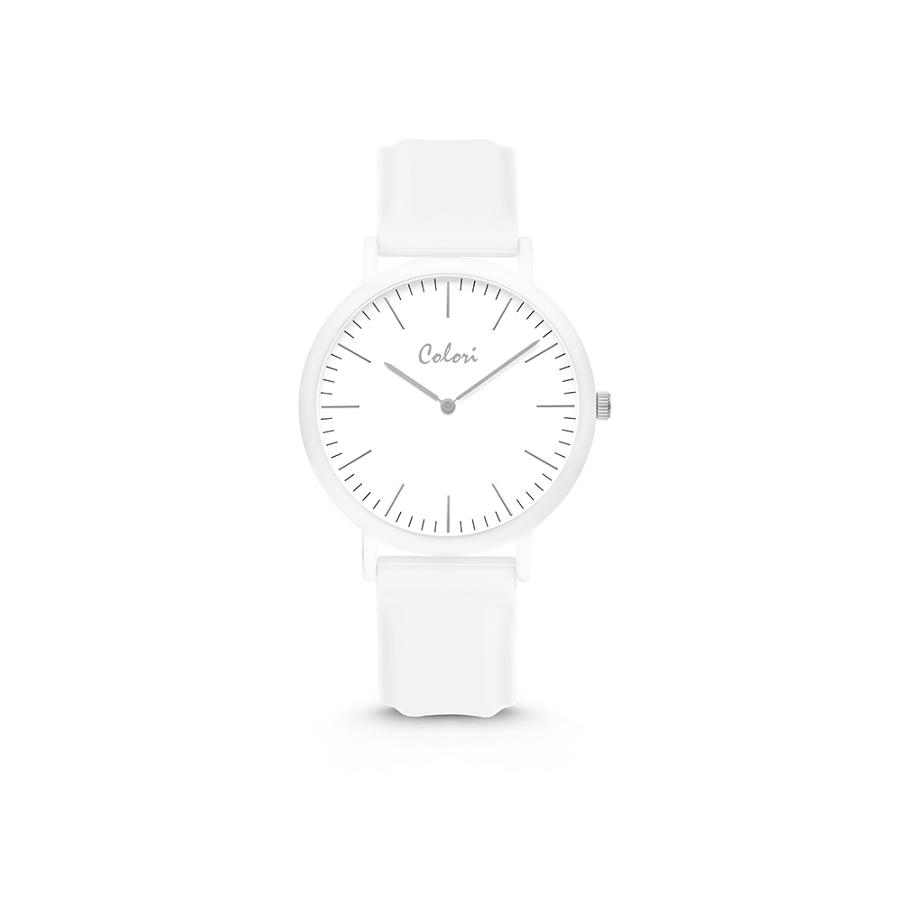 Colori Essentials 5 COL591 Horloge - Siliconen Band - Ø 30 mm - Wit