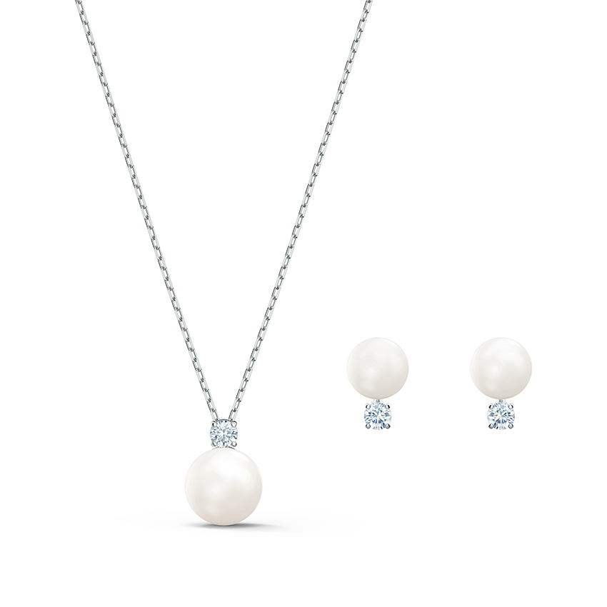 Swarovski 5569758 Set Ketting en Oorbellen Treasure Pearl zilverkleurig wit