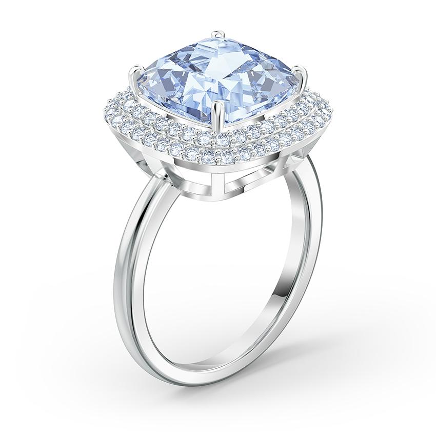 Swarovski 5572637 Ring Angelic zilverkleurig-blauw Maat 60