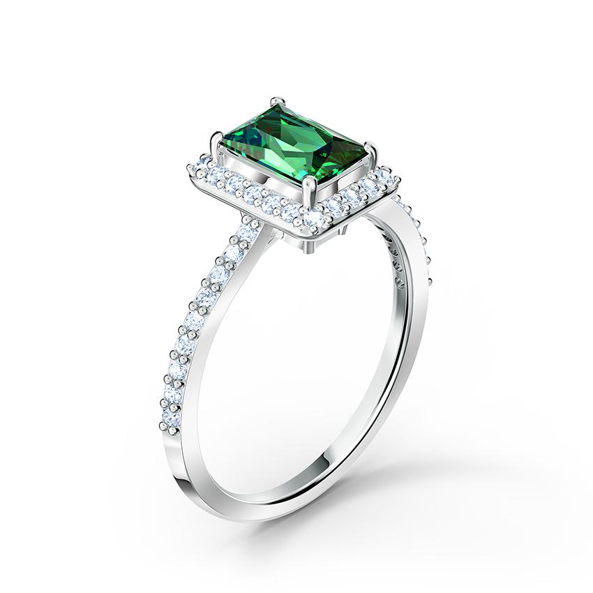 Swarovski 5572661 Ring Angelic Rechthoek zilverkleurig groen Maat 60