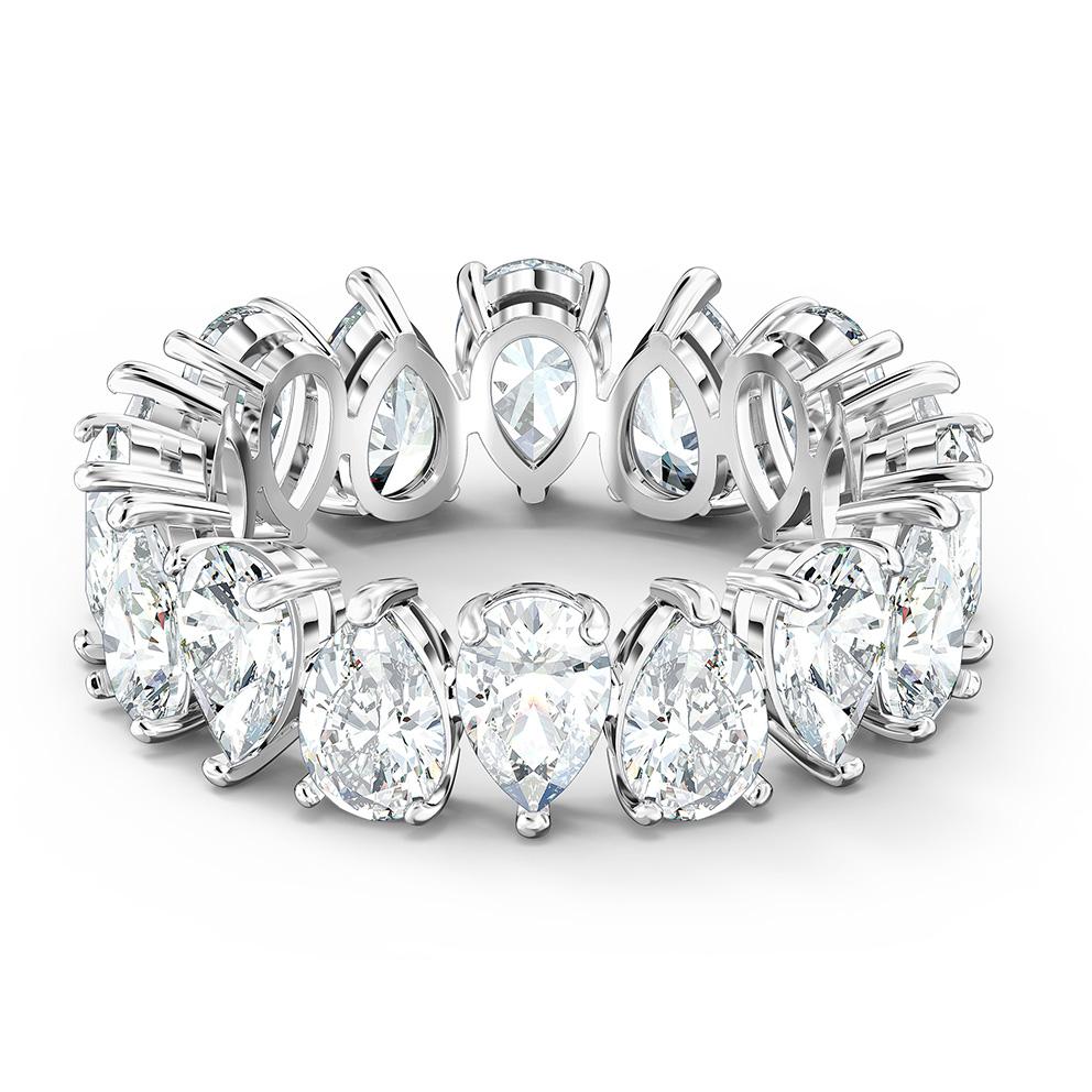 Swarovski 5572824 Ring Vittore Pear zilverkleurig-wit Maat 58