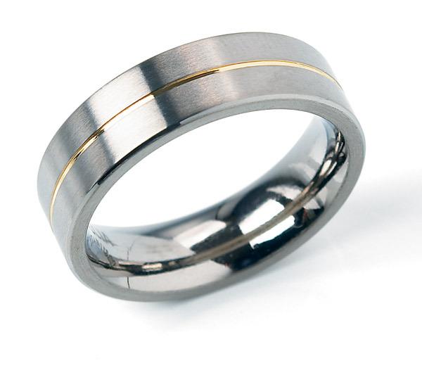 Boccia 0101 21 Ring titanium zilver en goudkleurig 6 mm Maat 71