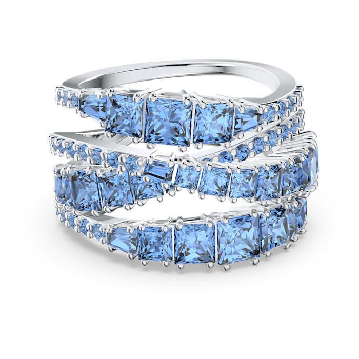 Swarovski 5584649 Ring Twist Overslag zilverkleurig-blauw Maat 58