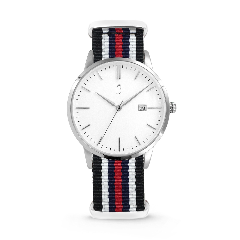 Colori Nato Connaisseur 5-COL495 - Horloge - nato - zwart/ wit/ blauw/ rood -  40 mm