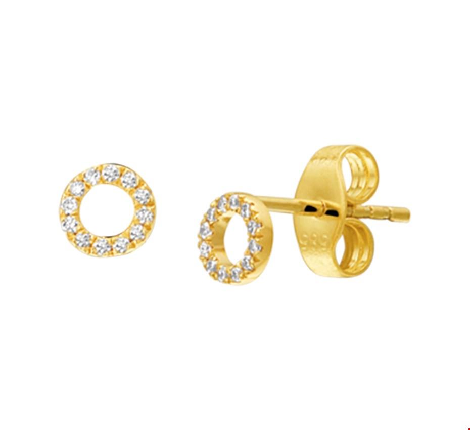 TFT Oorknoppen Diamant 0.07ct (2x0.035ct) H P1 Geelgoud Glanzend