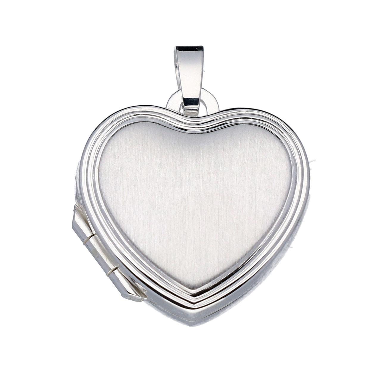 Zilveren Medaillon Hart bewerkt en mat 145.0031.00