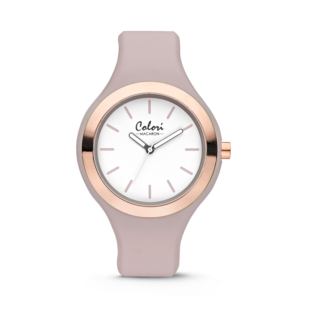 Colori Horloge Macaron staal/siliconen rosékleurig/taupe 44 mm 5-COL436
