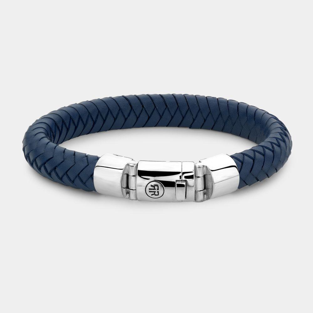 Rebel and Rose RR L0104 S Armband Big Half Round Blue leder zilver 11 mm blauw XL 23 cm