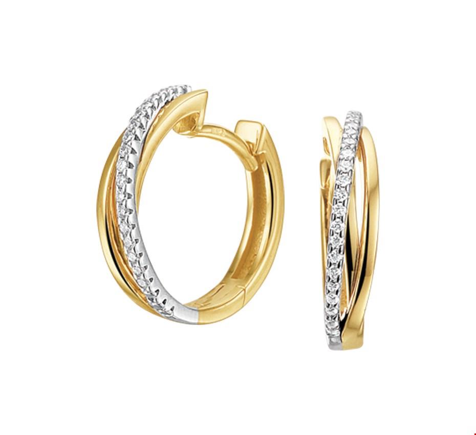 TFT Klapcreolen Diamant 0.12 Ct. Bicolor Goud Glanzend