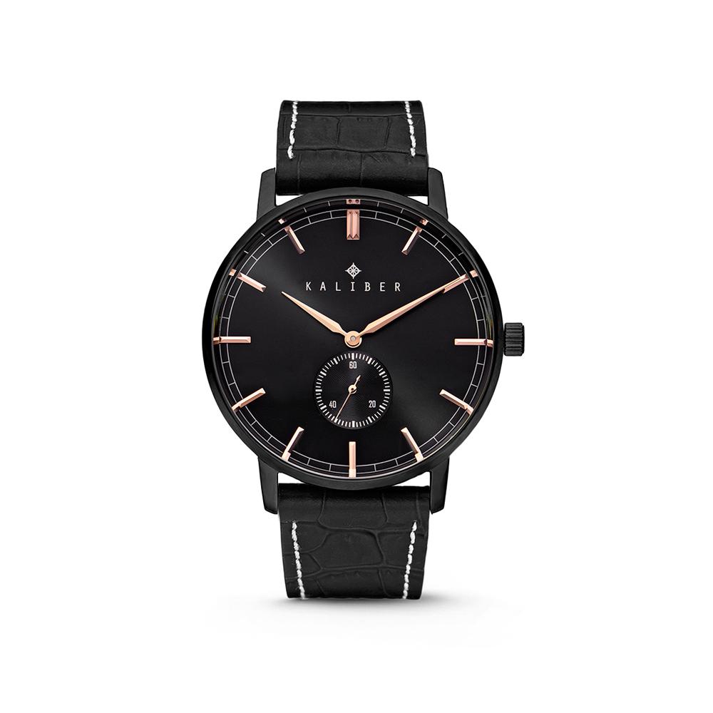 Kaliber 7KW-00005 Horloge met lederen band zwart en rosekleurig 40 mm