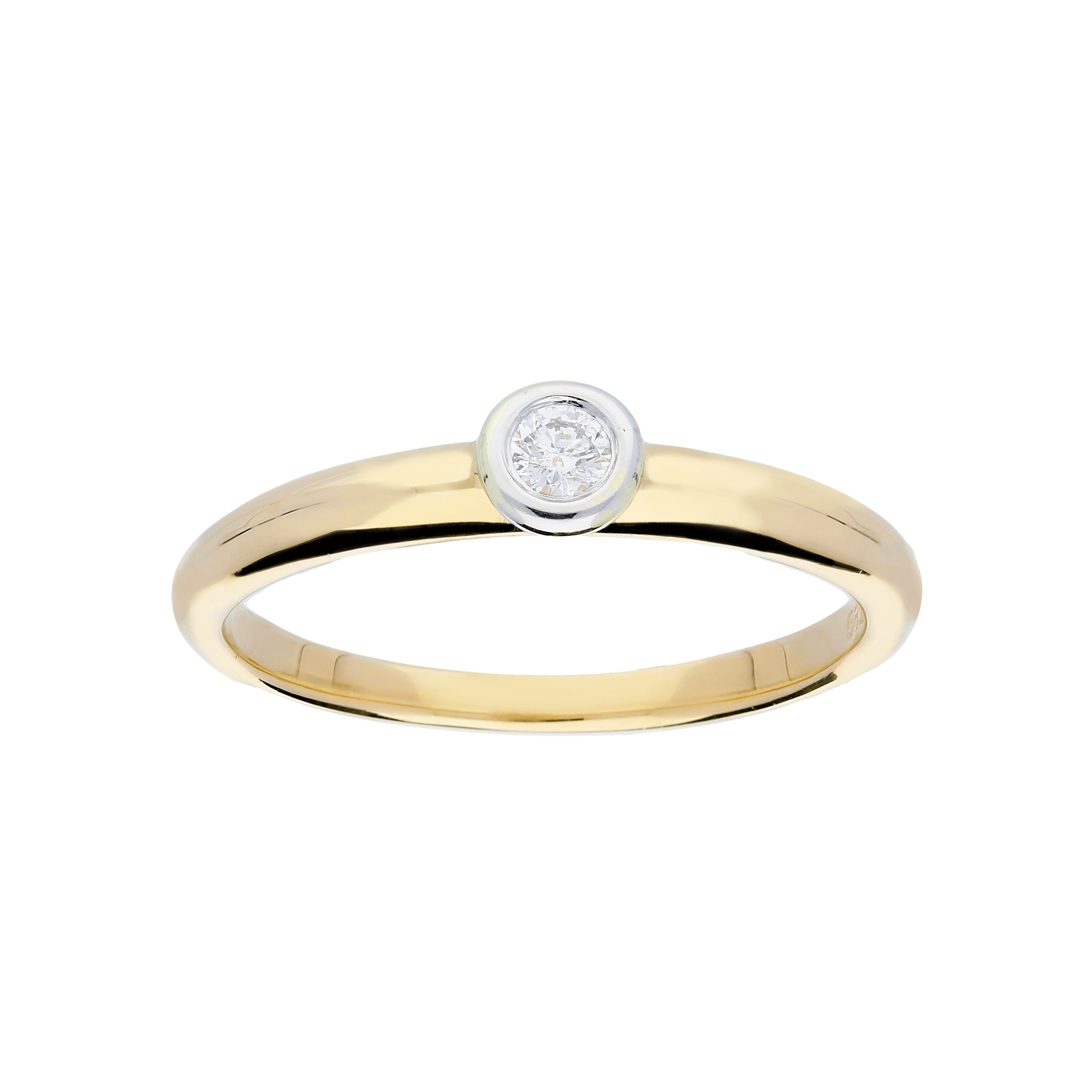 Glow Gouden Ring Bicolor Mat Glanzend Diamant 1 0.07ct G si 214.5209.54