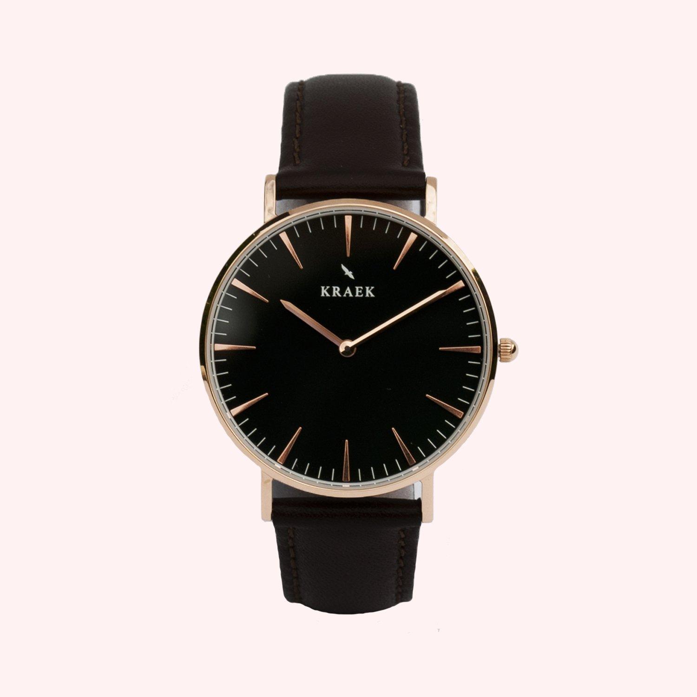 KRAEK 07061288165464 Horloge Tori zwart/rosekleurig 36 mm
