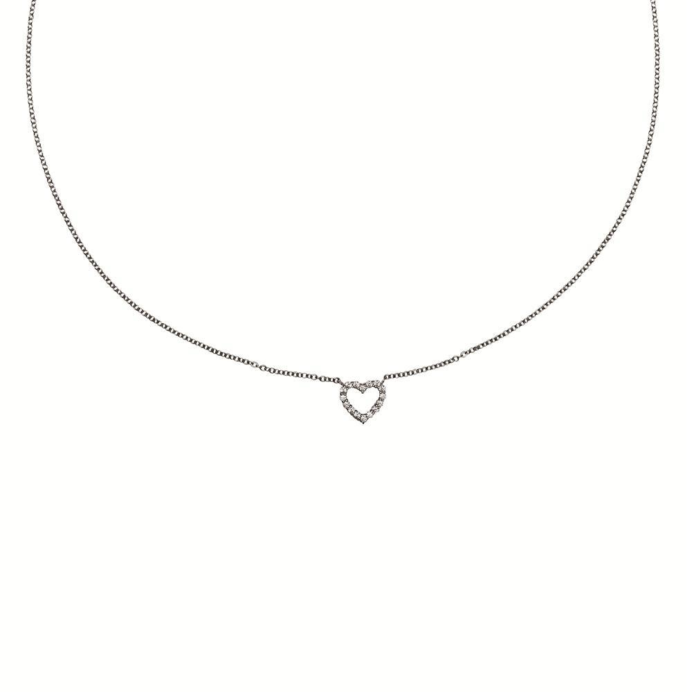 Zilveren Collier 45 cm met Hanger Pavbezet Hart 803.0156.45