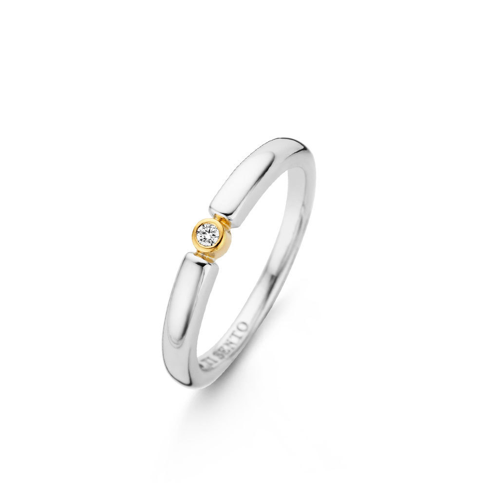 Ti Sento Milano 12150ZY Ring met zirconia zilver goudkleurig Maat 56