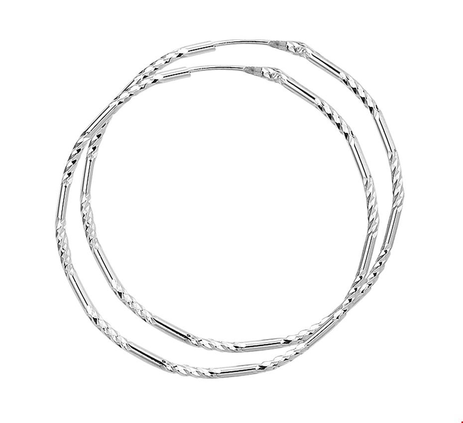 TFT Creolen Gediamanteerd Zilver Gerhodineerd Gediamanteerd 1.5 mm x 43 mm