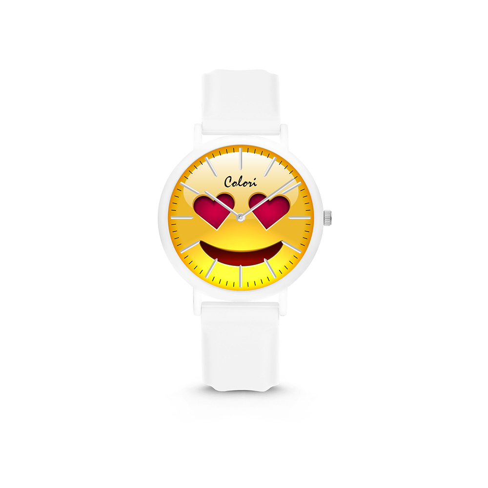 Colori Essentials Smile 5 CLK117 Kinderhorloge - Hartjes - Siliconen band - Ø 30 mm - Wit