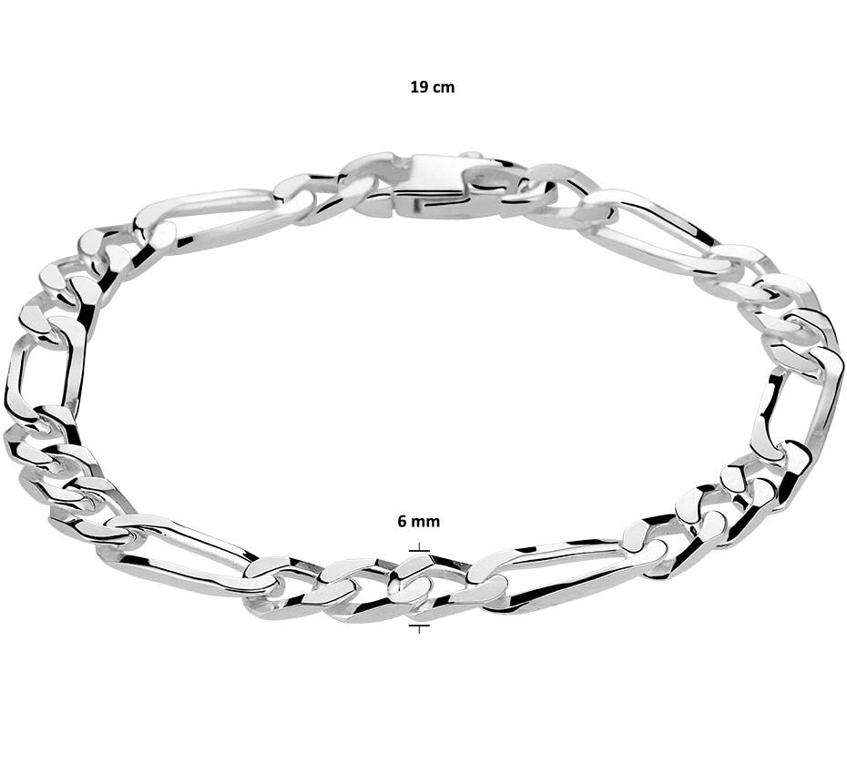 TFT Armband Zilver Figaro 6,0 mm 19 cm