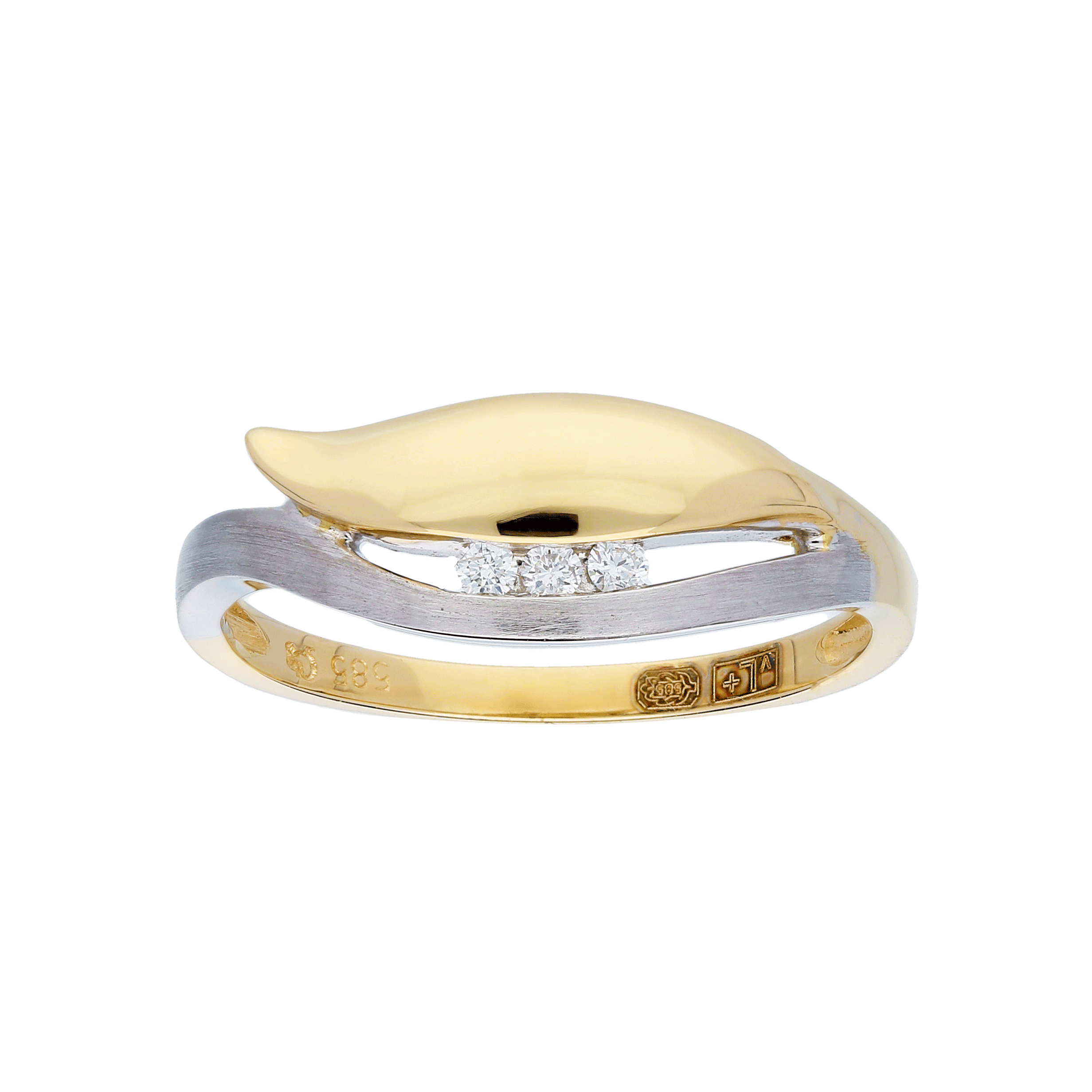 Glow Gouden Ring Bicolor Mat Glanzend Diamant 3 0.045ct G si 214.5252.56