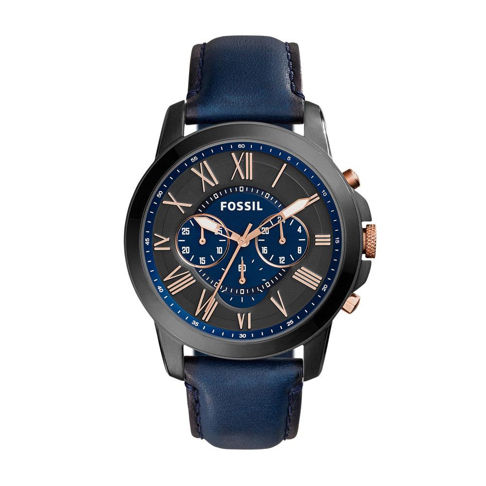 Fossil FS5061 Horloge Grant staal leder blauw rosekleurig