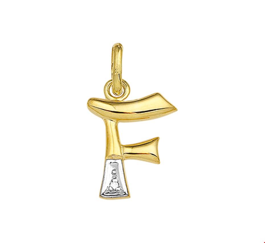 TFT Bedel Letter F Diamant 0.005 Ct. Goud