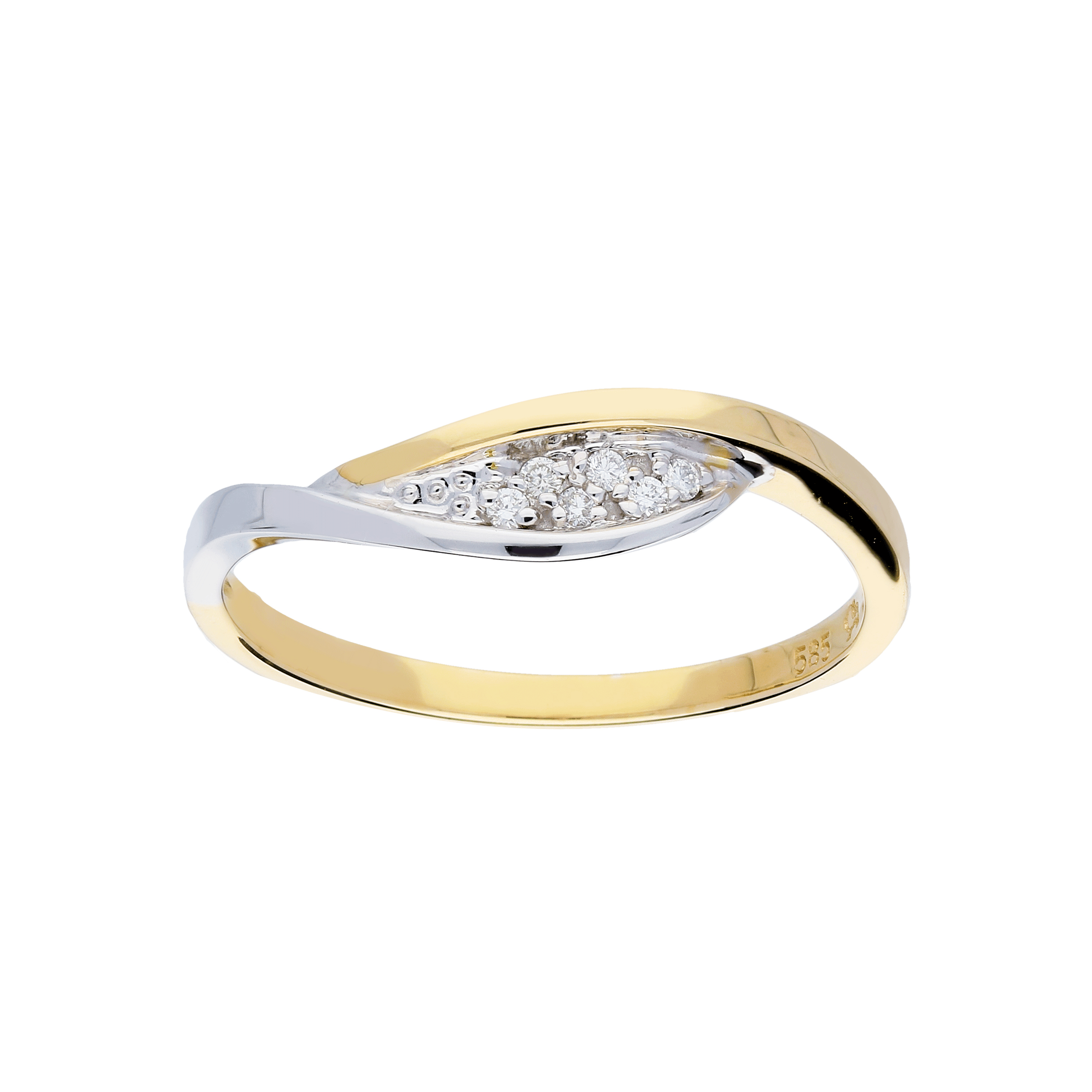 Glow Gouden Ring Bicolor Glanzend Diamant 6 0.045ct G si 214.5219.52