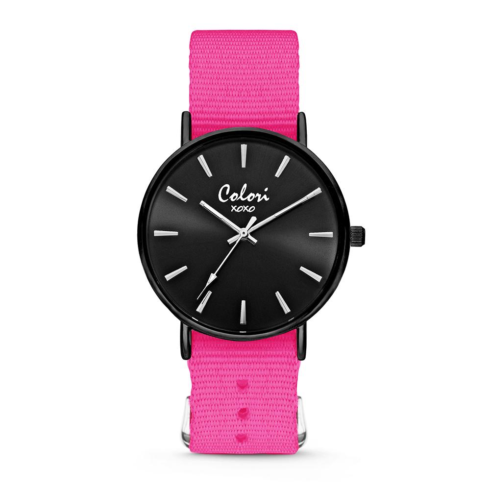 Colori XOXO 5 COL562 Horloge geschenkset met Armband - Nato Band - Ø 36 mm - Donker Roze - Zwart