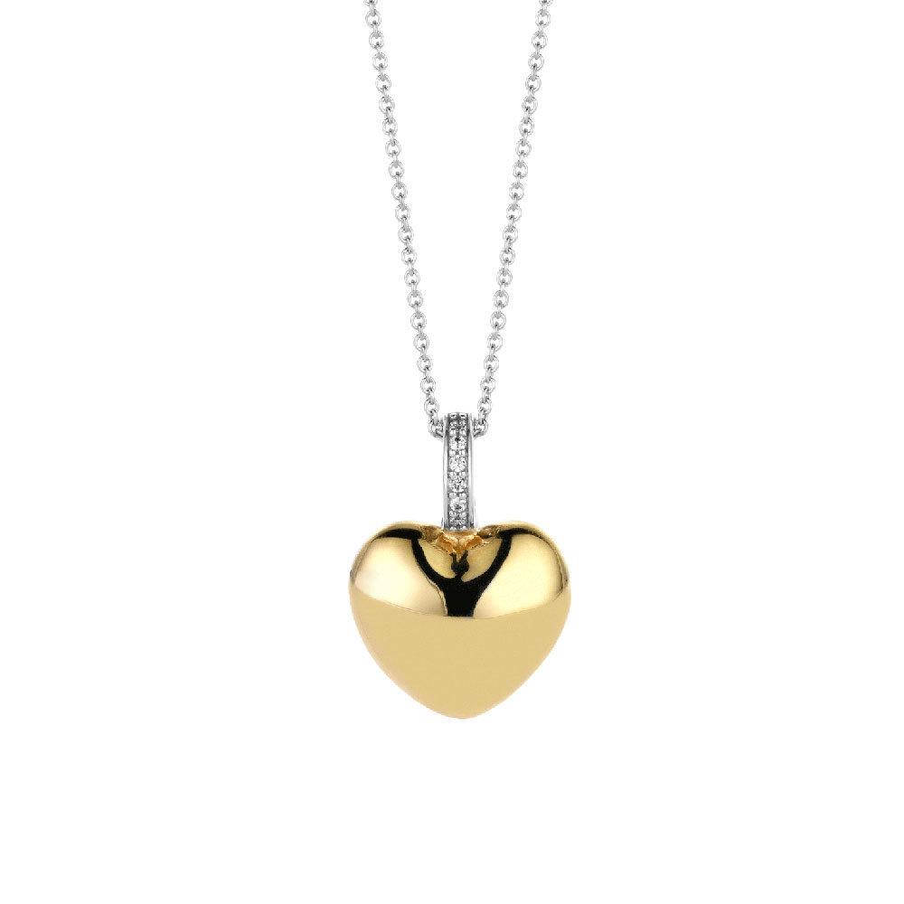 TI SENTO - Milano 6745SY Ketting met hanger hart zilver-goudkleurig 15,5 x 22 mm 38-48 cm