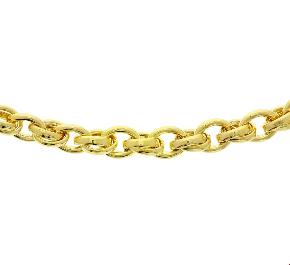 Zilgold Collier goud met zilveren kern 8 mm 45 cm