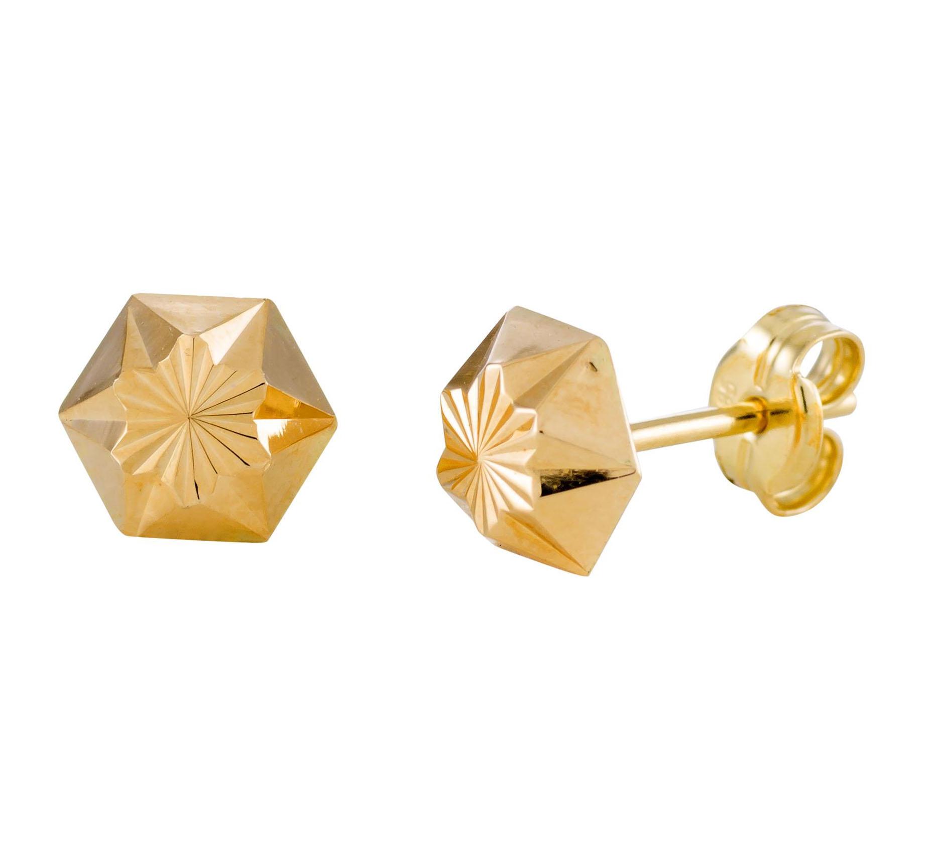 Afbeelding van 14 Krt Gouden Oorbellen 6.0 mm Gediamanteerd 206.0461.06