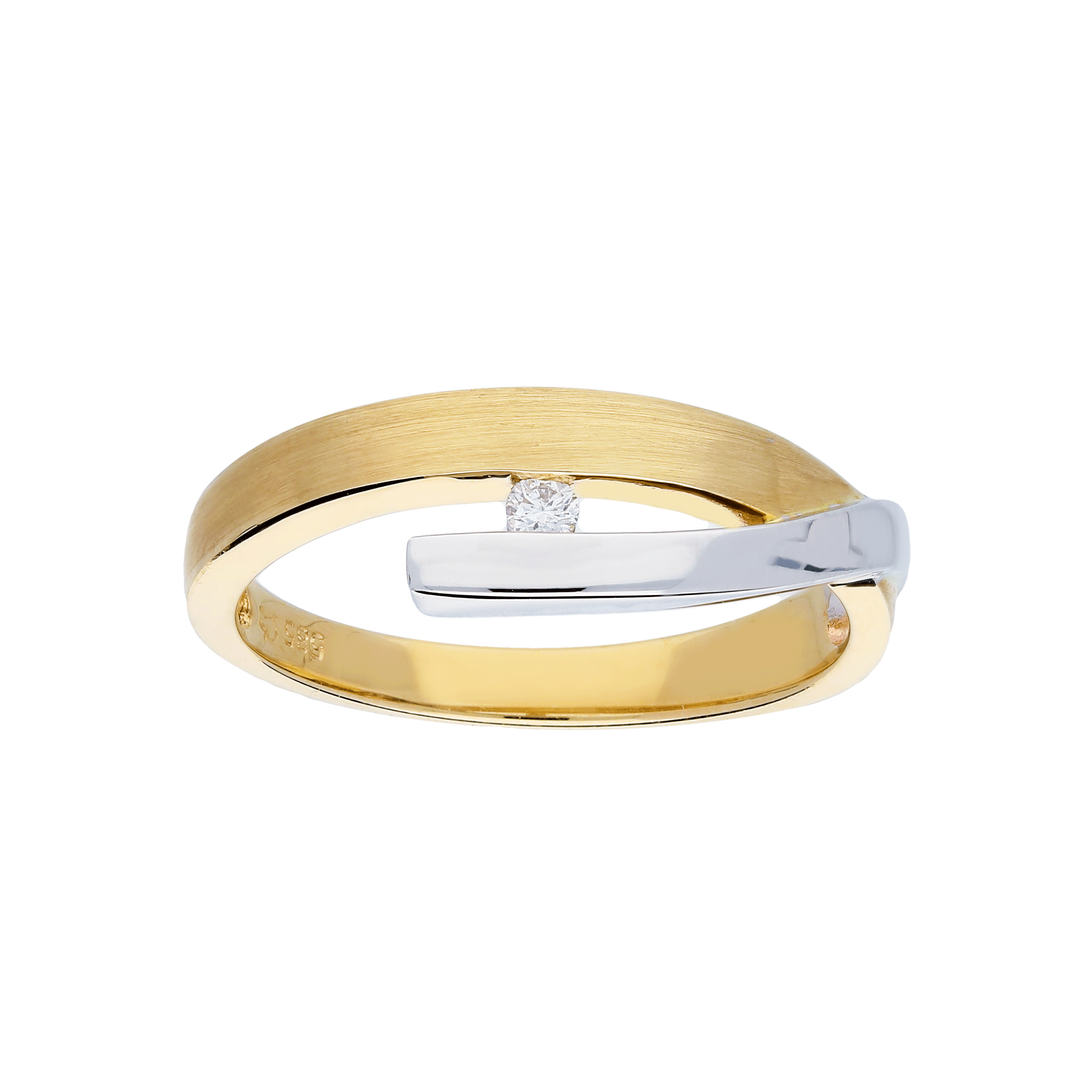 Glow Gouden Ring Bicolor Mat Glanzend Diamant 1 0.03ct G si 214.5212.50