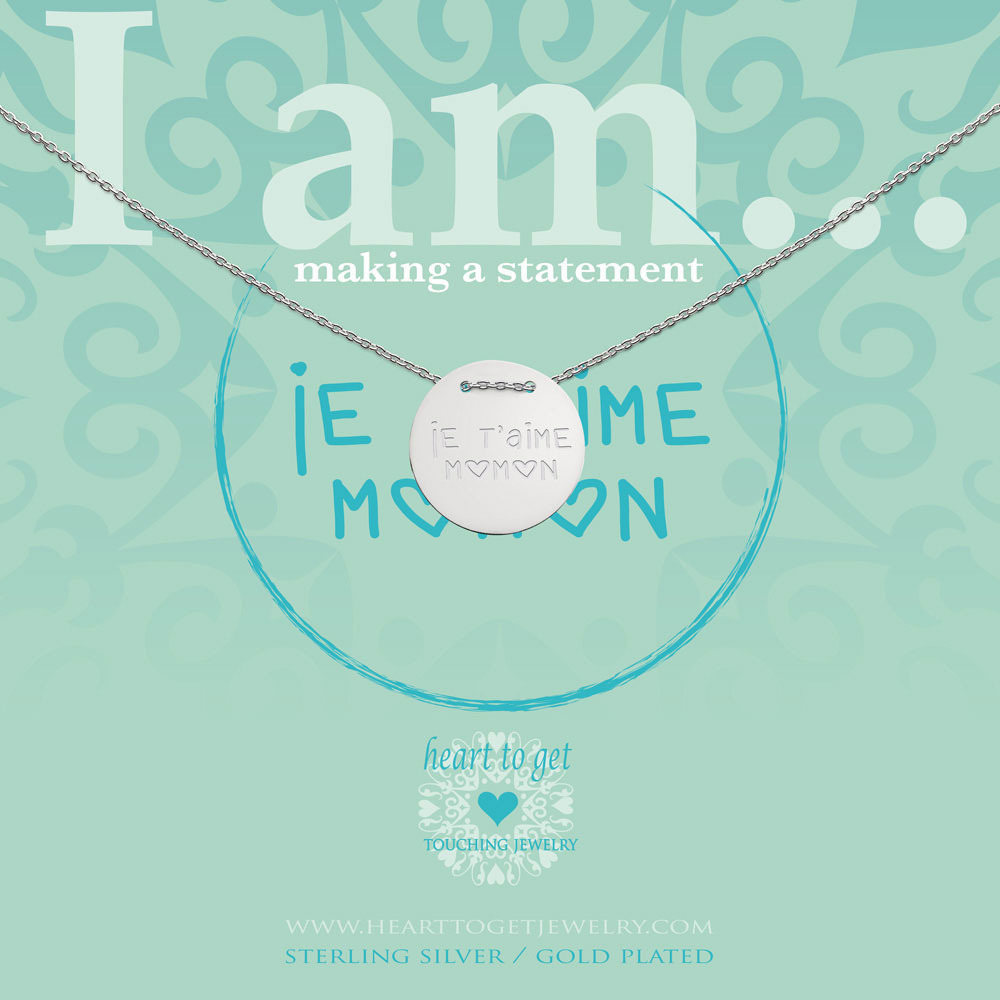 Heart to get IAM437N-JTMM-S je t'aime maman zilver ketting