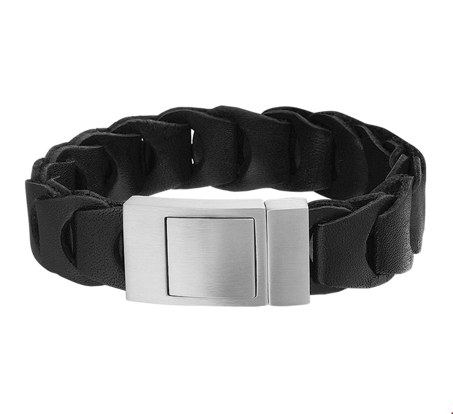 TFT Armband Staal Leer 19 mm 21,5 cm
