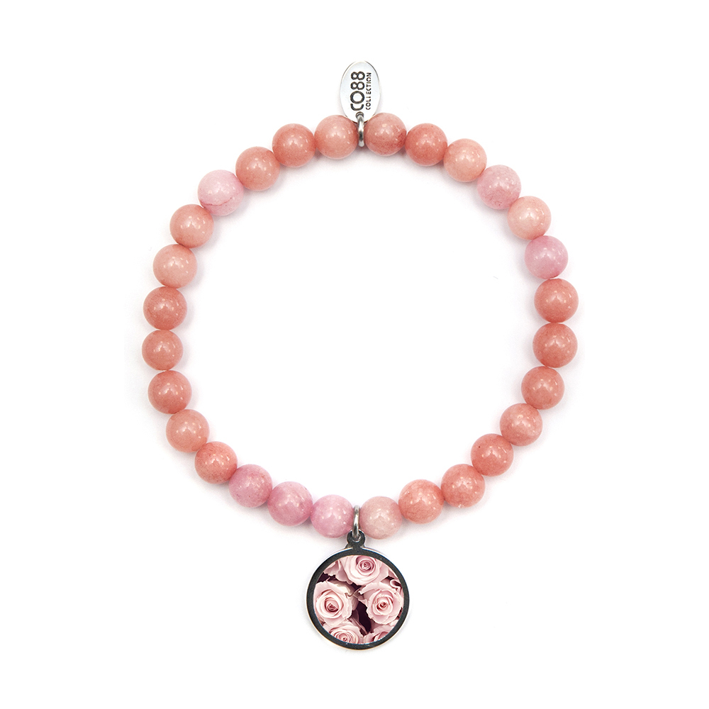 CO88 Collection 8CB-90039 Natuurstenen armband met bedel Jade 6 mm en rozen bedel one-size roze