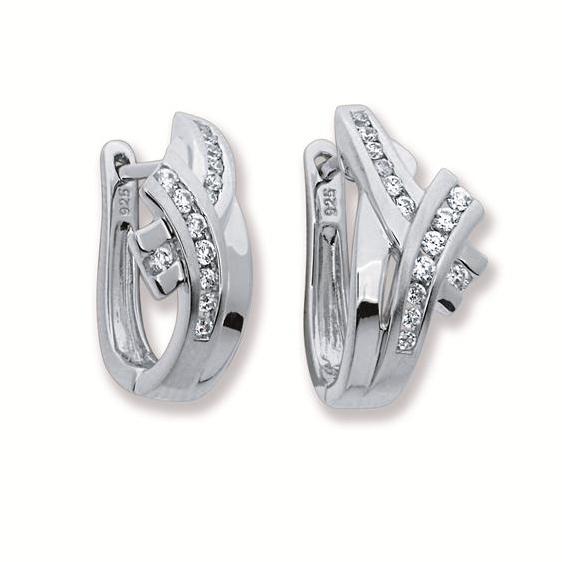 Zilveren Oorbellen klapcreolen met zirconia 107.6177.00